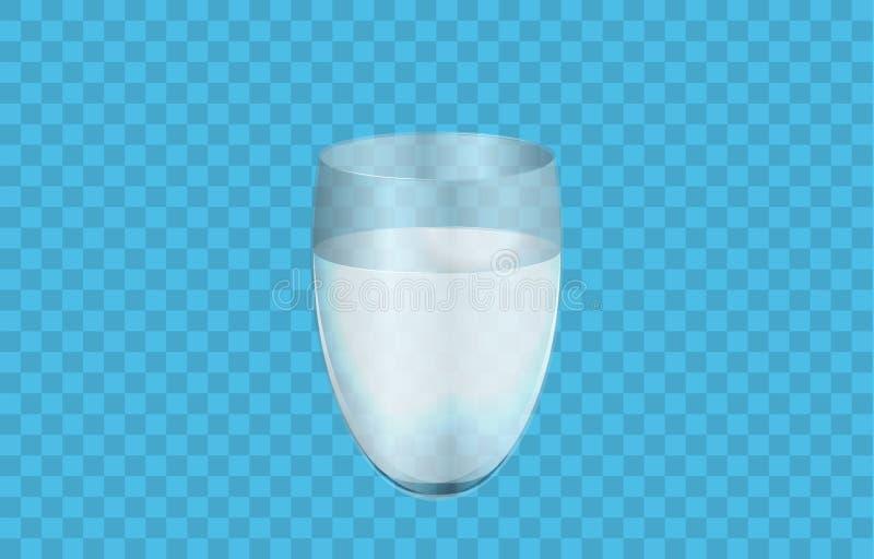 Szkło woda lub ciecz odizolowywający na bławym tle, 3D realistyczna wektorowa ilustracja Błyszcząca przejrzysta szklana filiżanka ilustracja wektor