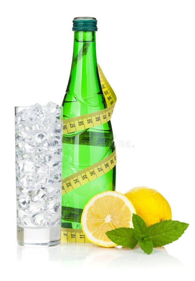 Szkło woda z lodem, butelką, pomiarową taśmą, cytryną i mennicą, zdjęcie stock
