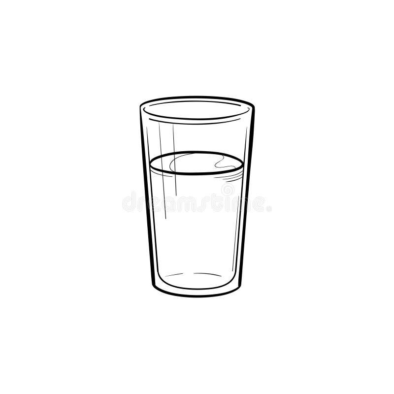 Szkło wodna ręka rysująca nakreślenie ikona ilustracja wektor