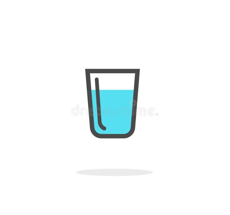Szkło wodna wektorowa ikona odizolowywająca na białym tle, linii wodnej filiżance lub napoju symbolu clipart, ilustracja wektor