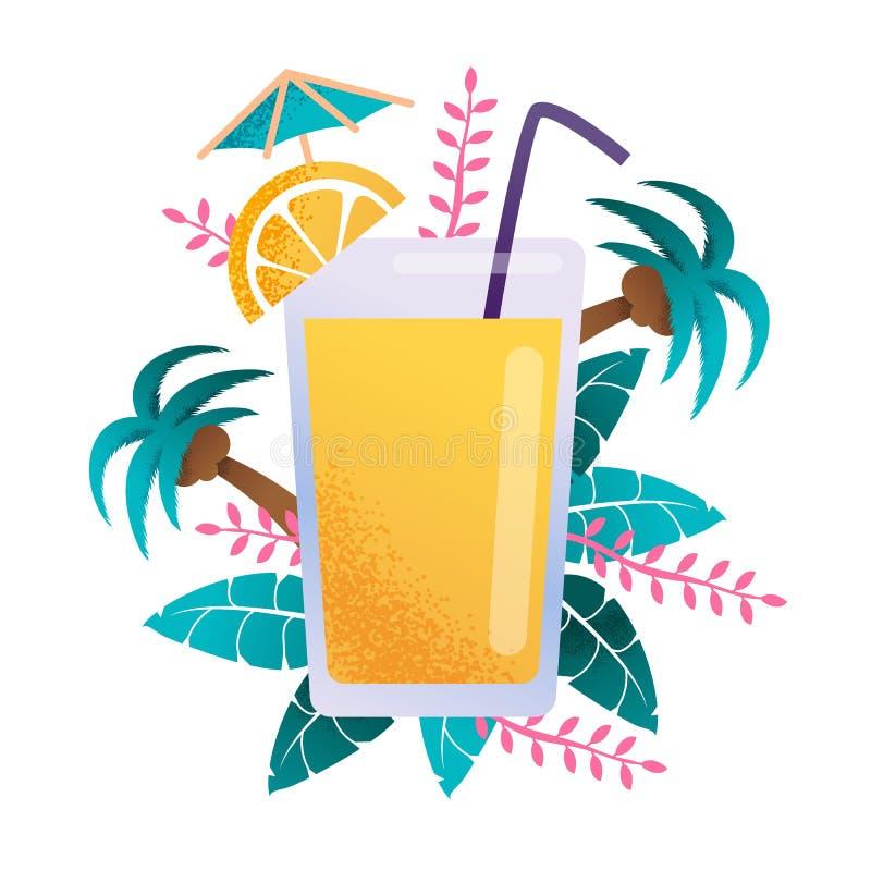 Szkło Wypełniający Tropikalnego soku Reklamowy sztandar ilustracji