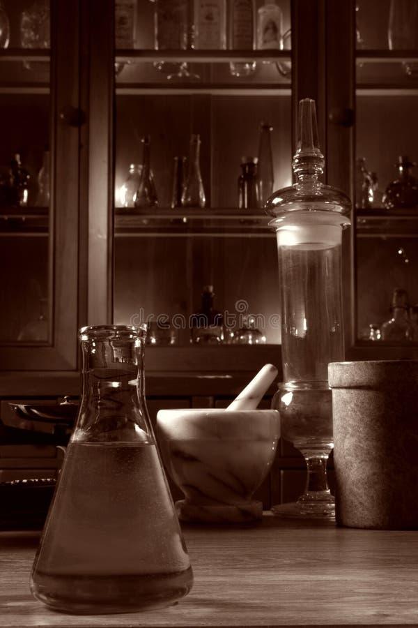 szkło z antykami stara nauka badań laboratorium obraz stock