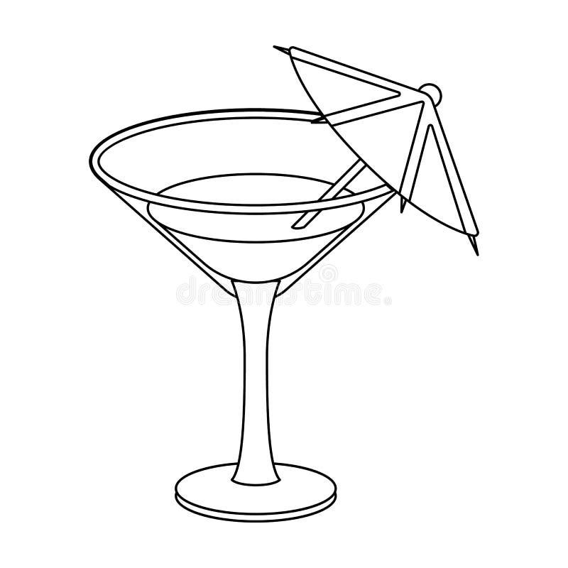 Szkło z koktajlem Przyjęcie i przyjęcia przerzedżemy ikonę w konturu stylu symbolu zapasu wektorowej ilustraci ilustracja wektor