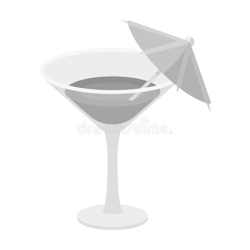 Szkło z koktajlem Przyjęcie i przyjęcia przerzedżemy ikonę w monochromu stylu symbolu zapasu wektorowej ilustraci royalty ilustracja