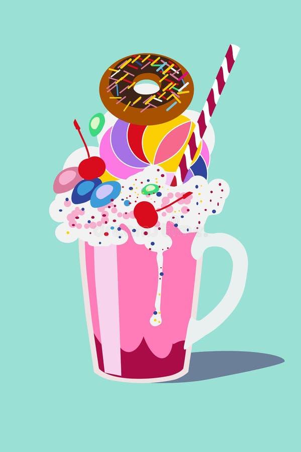 Szkło z milkshake z batożącą śmietanką z pączkiem i wiśnią, Wektorowy ilustracyjny płaski projekt obrazy royalty free