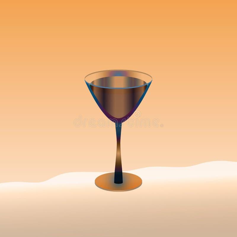 Szkło z napojem na morelowym tle ilustracja wektor