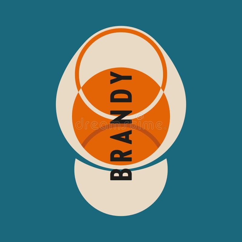 Szk?o alkohol Brandy szkło z brandy Modernizm stylowa sztuka Geometryczna kszta?t sztuka royalty ilustracja