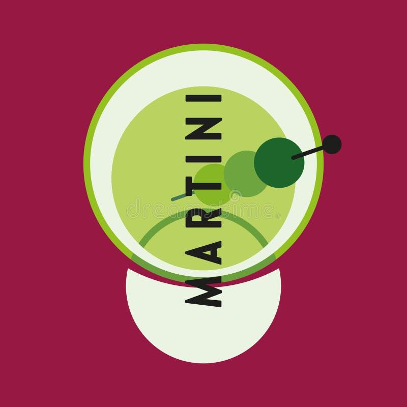 Szk?o alkohol Szkło Martini koktajl nalewał wewnątrz z oliwkami Modernizm stylowa sztuka Geometryczna kszta?t sztuka ilustracji