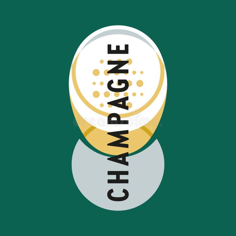 Szk?o alkohol Szkło szampan z szampanem Modernizm stylowa sztuka Geometryczna kszta?t sztuka ilustracja wektor