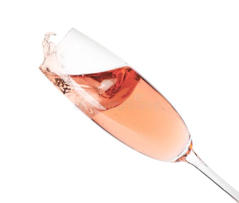 Szk?o odizolowywaj?cy r??any szampan zdjęcie stock