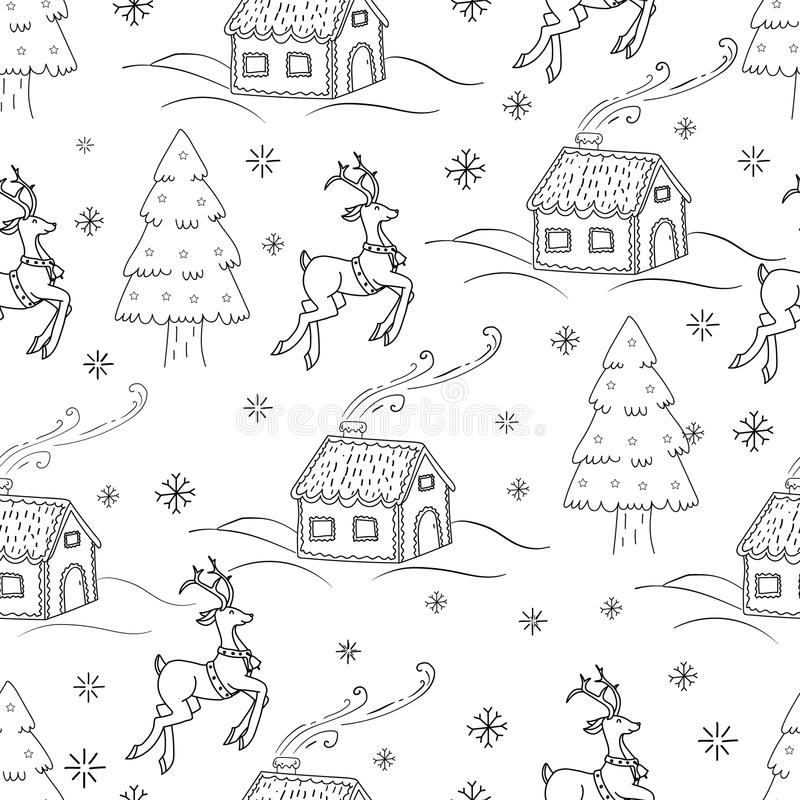 Szkicowa bezszwowa deseniowa wektorowa ręka rysująca Doodle kreskówka ustawiająca przedmioty i symbole na nowego roku temacie ilustracji