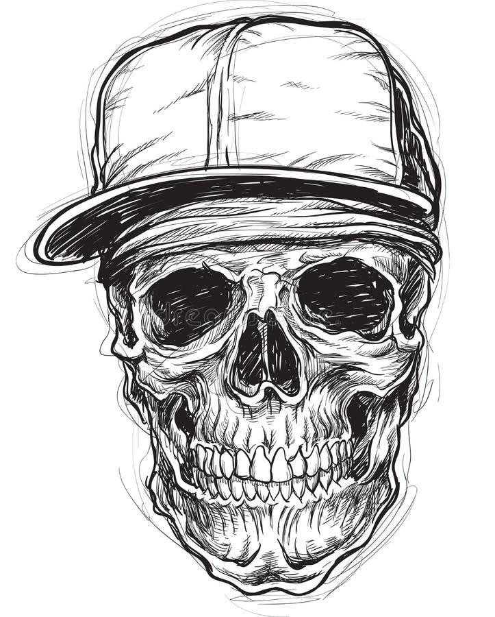Szkicowa czaszka z nakrętką i bandanami royalty ilustracja