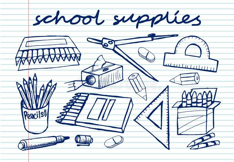 Szkicowe szkolne dostawy na copybook royalty ilustracja