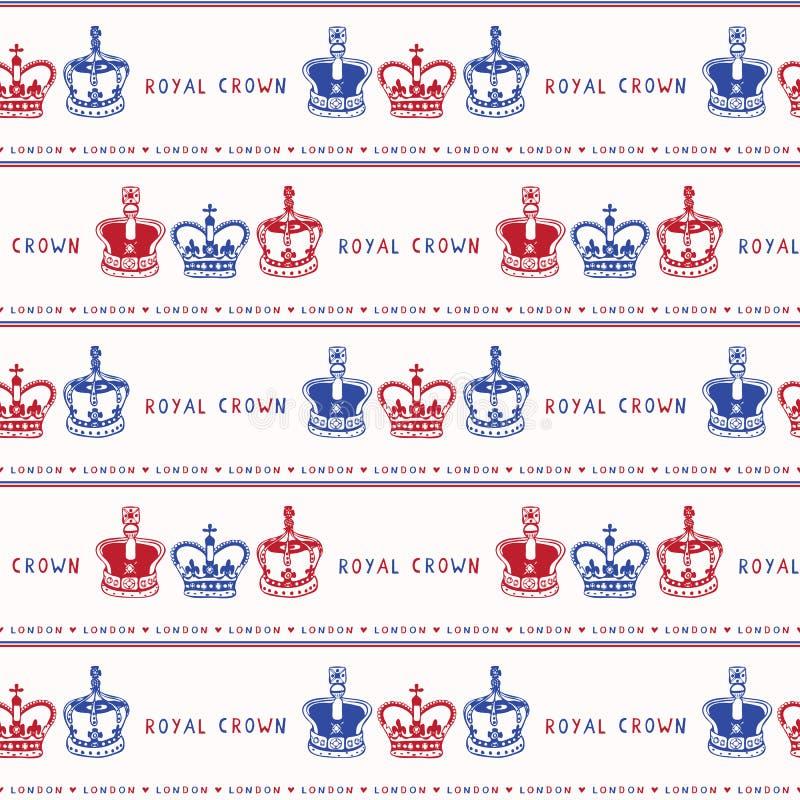 Szkicowej Londyńskiej Królewskiej korony wektoru bezszwowy wzór Sławny dziejowy brytyjski symbol royalty ilustracja