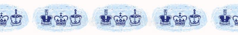 Szkicowej Londyńskiej Królewskiej korony wektoru granicy bezszwowy wzór ilustracja wektor