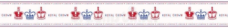 Szkicowej Londy?skiej Kr?lewskiej korony wektoru granicy bezszwowy wz?r ilustracja wektor
