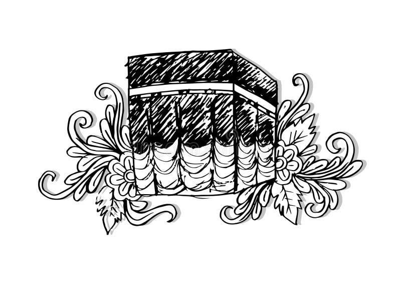 Szkicowy Kaaba, mekka zgadzam się barwił Arabii obszaru klip elewację zawiera siwiejącą jest zagadką nawet drogę ulga cieniący sa ilustracji