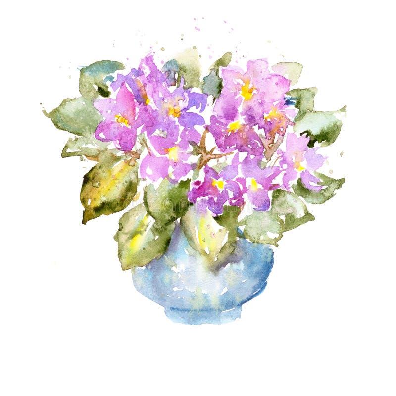 Szkicowy kolorowy akwarela obraz na białym papierze Jaskrawa purpura i bujny zieleni liście kwitniemy royalty ilustracja
