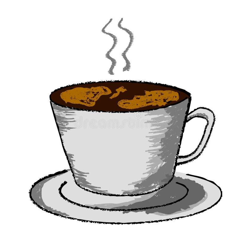 Szkicowy Kredkowy skutek, filiżanka Gorący napój przy Białym tłem, ilustracji