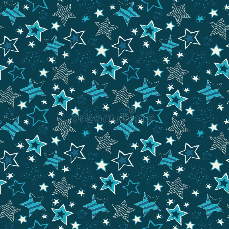 Szkicowych gwiazd powtórki wzoru Bezszwowa ilustracja ilustracji