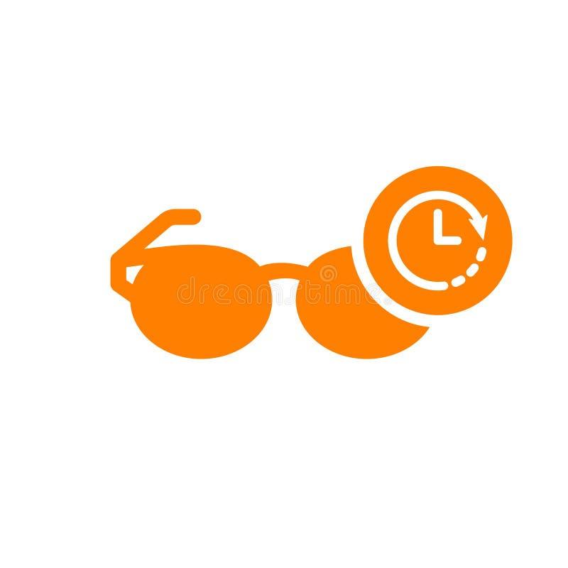 Szkieł ikony, narzędzi i naczyń ikona z zegarem, podpisuje Szkła ikony i odliczanie, ostateczny termin, rozkład, planistyczny sym ilustracji