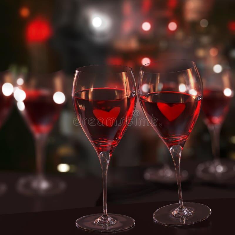 szkieł miłości czerwieni dwa wino ilustracji