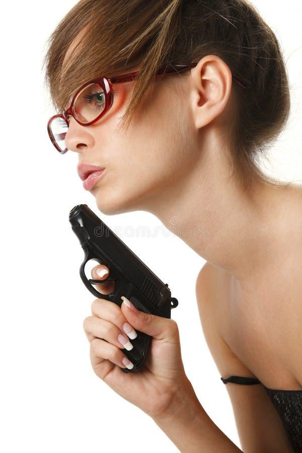 szkieł pistolecika czerwoni kobiety potomstwa zdjęcia royalty free