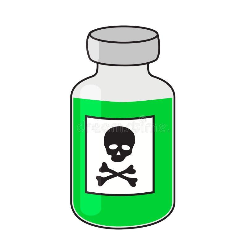 Szklana buteleczka jad, zielony liquide z znakiem toksyczności czaszka ilustracji