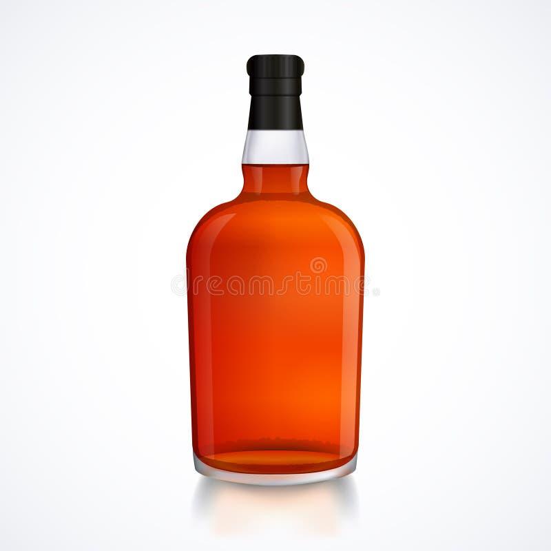 Szklana butelka alkoholu napój, whisky, bourbon, trunek, brandy, koniak z odbiciem ilustracja wektor