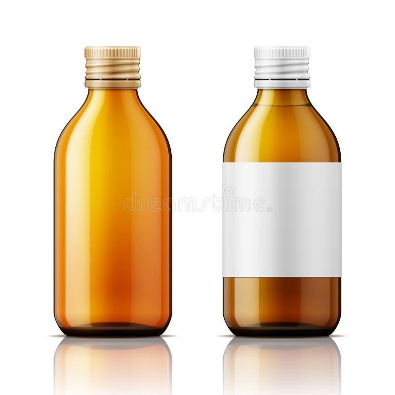 Szklana butelka dla pigułek ilustracji