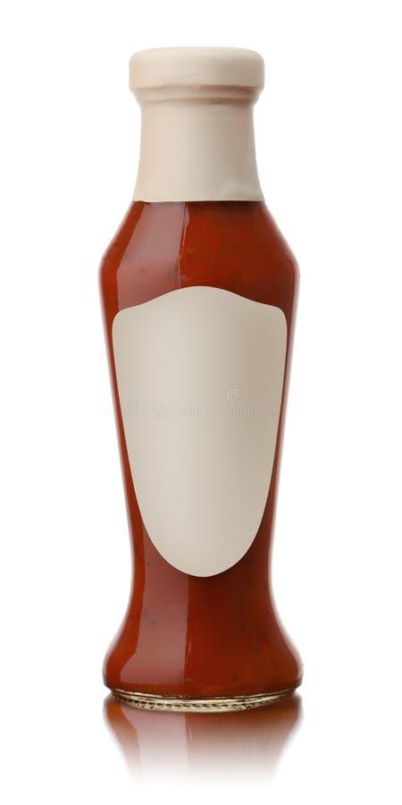 Szklana butelka gorący pomidorowy kumberland obraz royalty free