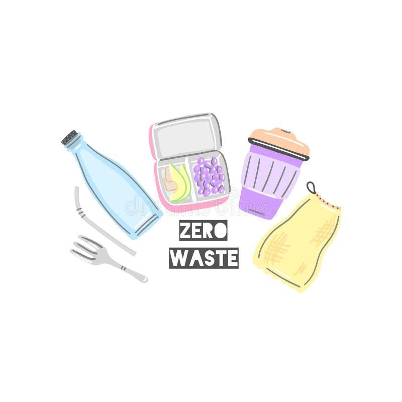 Szklana butelka, lunchbox, thermocup, metal s?oma i rozwidlenie, sukienna torba przek?ska zdrowa Pykniczny jedzenie Zero ja?owych ilustracji