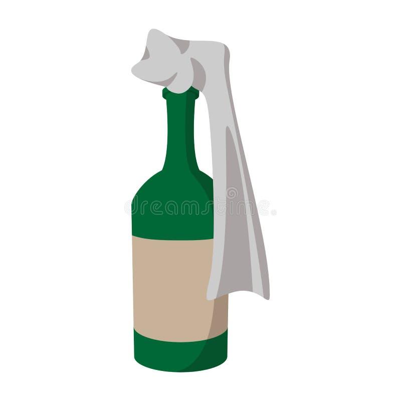 Szklana butelka wypełniająca z benzyną royalty ilustracja