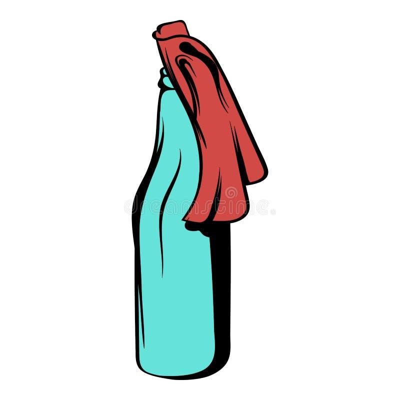Szklana butelka wypełniająca z benzyny ikony kreskówką royalty ilustracja