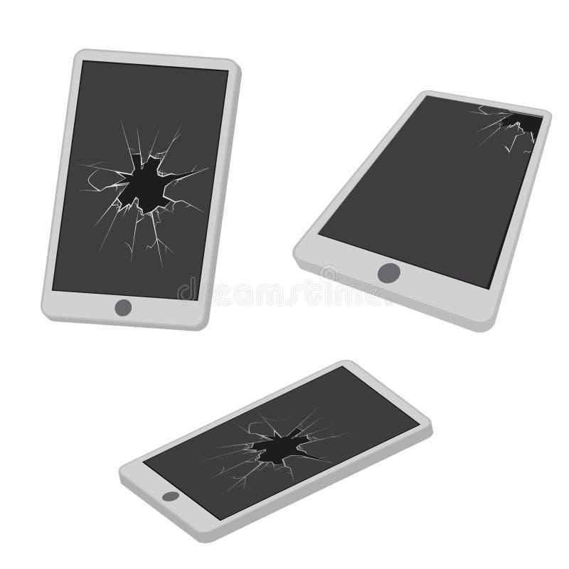 Szklana dziura pęka łamanego telefonu komórkowego projekta ikony wektoru elektroniczną śmieciarską realistyczną isometric ilustra royalty ilustracja