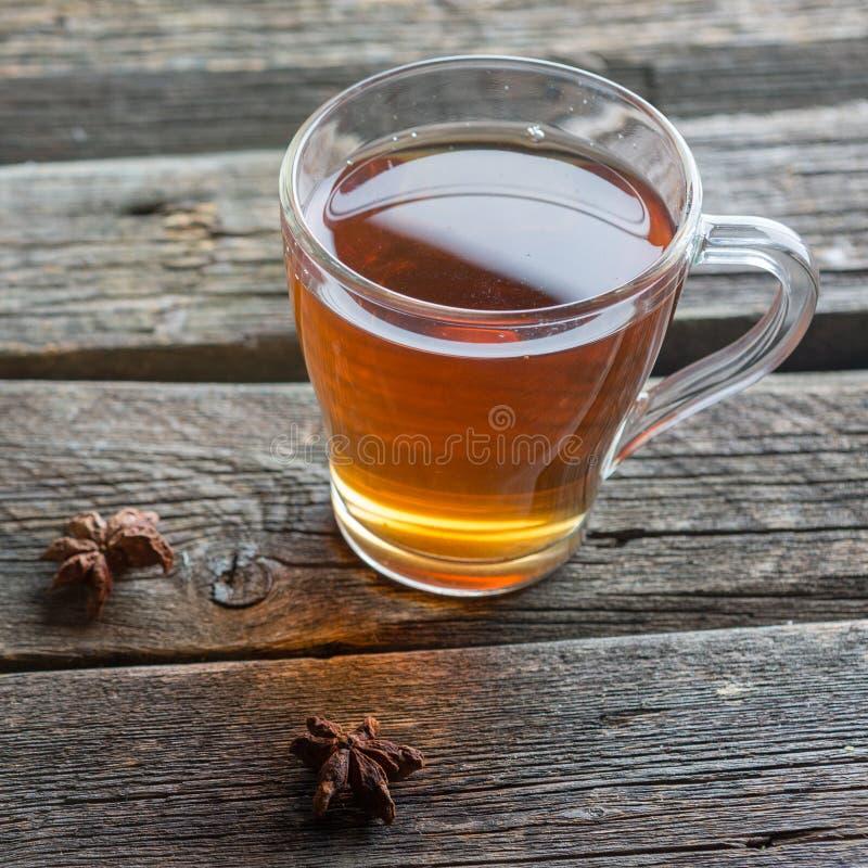 Szklana filiżanka czarna herbata fotografia royalty free