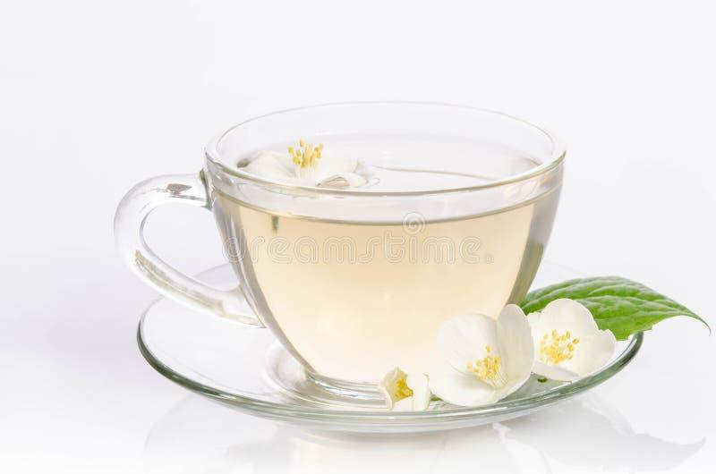 Szklana filiżanka herbata z jaśminów liśćmi i kwiatami fotografia stock