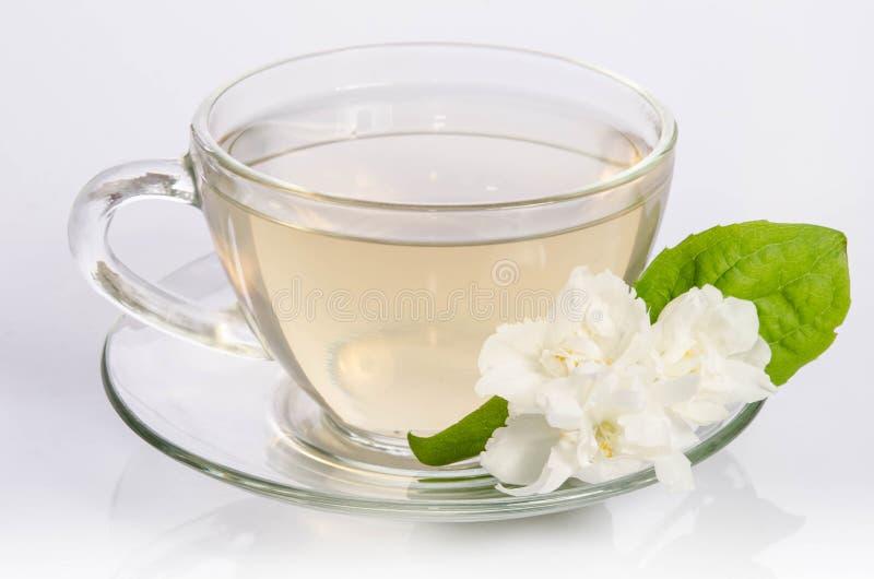 Szklana filiżanka herbata z jaśminów liśćmi i kwiatami zdjęcie royalty free