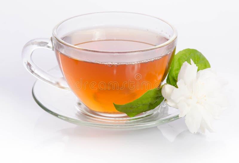 Szklana filiżanka herbata z jaśminów liśćmi i kwiatami obrazy stock