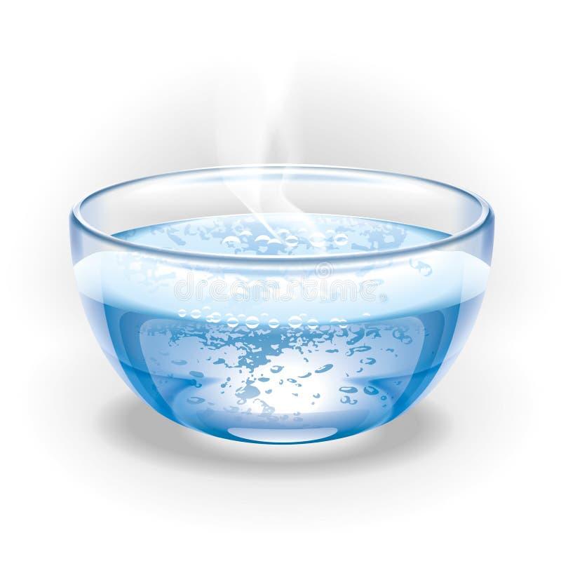 Szklana filiżanka wrząca woda. Ilustracja.
