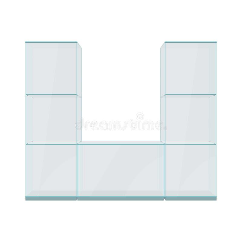 Szklana gablota wystawowa z półkami, odosobnionymi na białym tle ilustracji