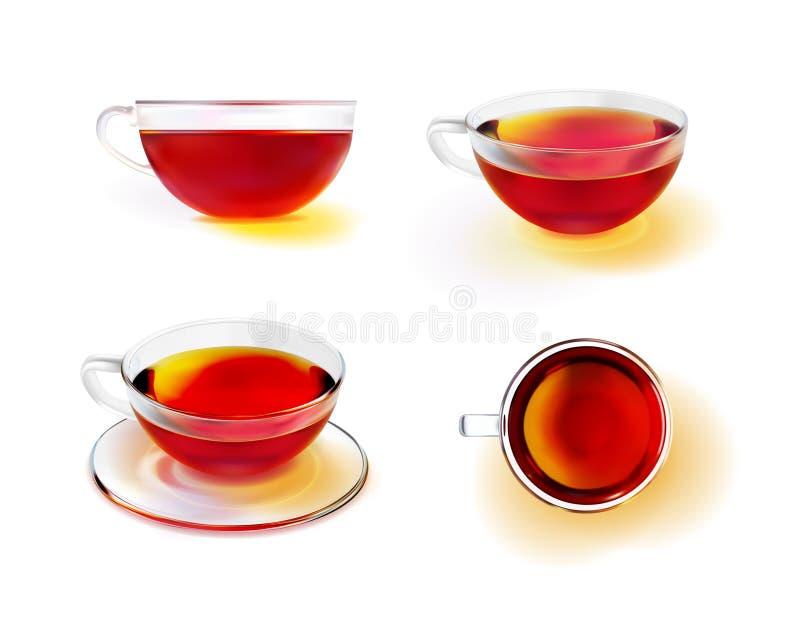 Szklana herbaciana filiżanka z czarną herbatą ilustracja wektor