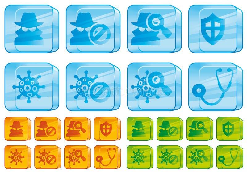 szklana ikon internetów ochrona ilustracji