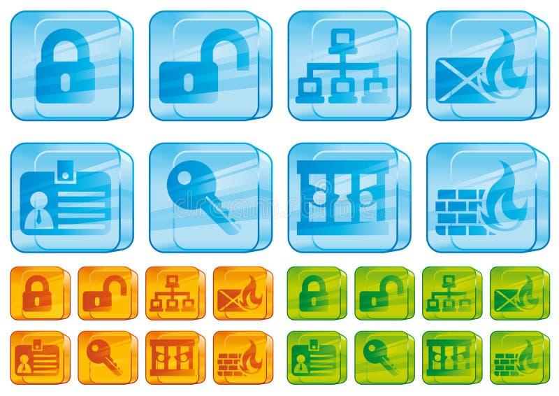 szklana ikon internetów ochrona ilustracja wektor