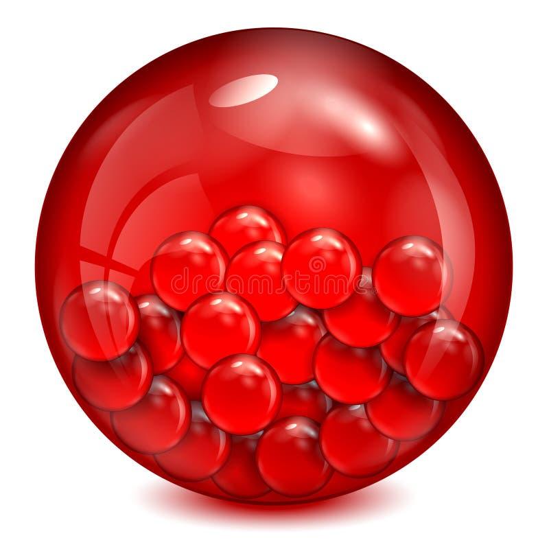 Szklana piłka czerwony kolor ilustracji