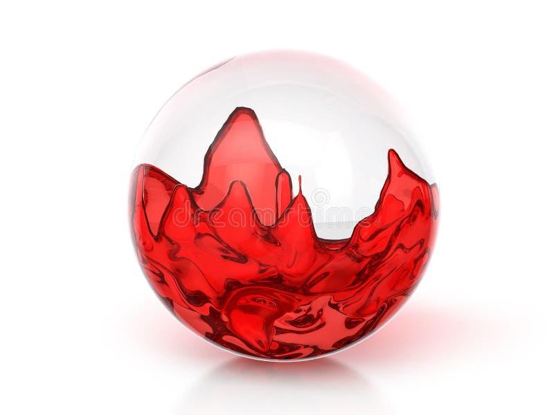 Szklana piłka z czerwonym cieczem ilustracja wektor