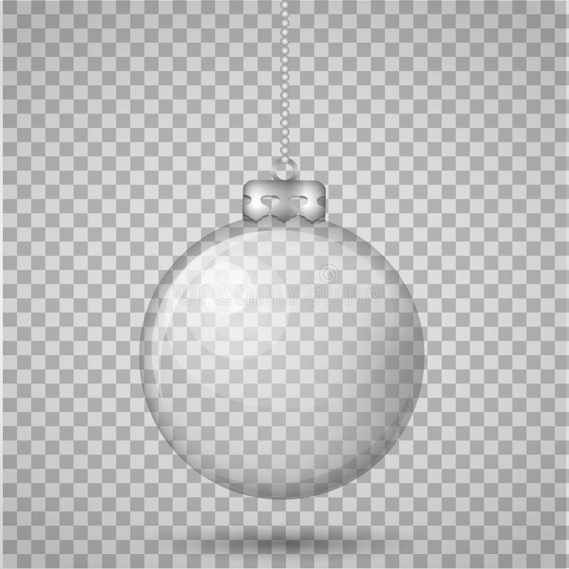 Szklana przejrzysta boże narodzenie piłka odizolowywająca na przejrzystym tle Realistyczna wektor ilustracja royalty ilustracja