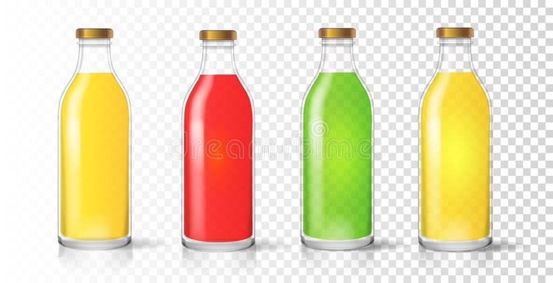 Szklana sok butelka Barwiony realistyczny pakuje ustalony wektor ilustracja wektor