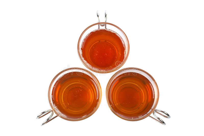 szklana trzy filiżanki herbaty obraz stock