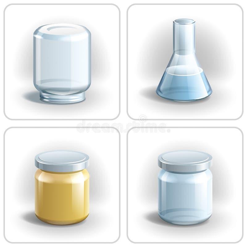Szklane butelki i kolba. ilustracji